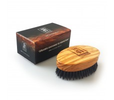 Military Hair Brush with Pure Black Bristle (Olive Wood)